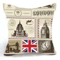big postcard - 45CM Cushion Cover Pillow Case Throw Home Sofa Decorative London Postcard Big Ben Bridge UK Flag
