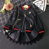 animal fur clothing - Fashion Cool Girls PU leather Outfits Black Jacket Coat leace PU leather skirt Dress Suits Kids Outfits Children Set Clothes Lovekiss C29412