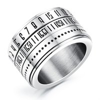 bar code design - Nunber Secert Codes Design Ring For Cool Man Punk Style mm width Size Stainless Steel Fashion Jewelry KGJ511