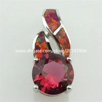 australian necklace pendants - 20318 Sterling Silver Round Red Cubic Zirconia CZ Lucky Australian Opal Pendant