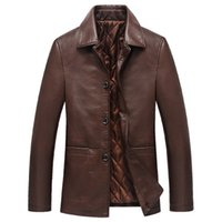Wholesale Fall Middle Age Men Fashion Tops PU Leather Jacket Solid Large Size Turn down Collar Casual Wear Men Jackets Comfortable Coats Cozy