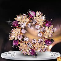 bauhinia crystal gifts - Ladies Girls Golden Plated Flashing Flower Rhinestones Crystals Bauhinia Flower Chinese Redbuds Brooches Corsage Pin Clips