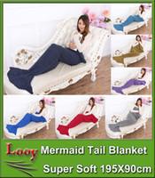 Wholesale 30pcs Crochet Mermaid Tail Blanket Super Soft Warmer Blanket Bed Sleeping Costume Air condition Knit Blanket
