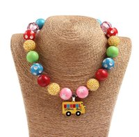 Wholesale New Hot Girls Kid Necklace Handmade School Bus Pendent Chunky Necklace Toddler Jewelry Lovely Beautiful Kids Accessories