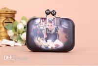 audrey hepburn purse - Female Evening Bag Audrey Hepburn Pattern Day Cluthes Hot Handbag With Alloy Shoulder Chain Hard Box Purse for Party WB9007