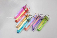 aura jewelry - Fashion Wire Wrap Multi Color Aura Quartz Titanium Crystal Point Pendant Connector Charm Jewelry Accessories G0426