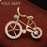 bicycle shawls - South Korea version of lovely retro bicycle brooch pin suits ms corsage button scarves shawls needle crystal