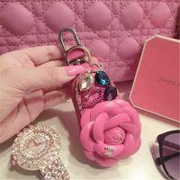 Wholesale Fashion Diamond Bow Flower Calabash Shape Key Bag Coin Wallet Faux Leather Hot Pink Color Mini Key Purse With Hanger