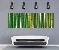 al por mayor bambú arte de la lona-Feng Shui Wall Art Lámina Sobre Lienzo Verde Bambú Hd Decoración Decorativa Home Decor Set30003