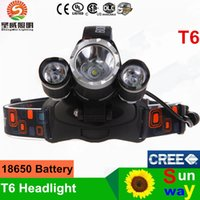 Wholesale New Arrival Boruit Aluminum RJ Lm CREE XM L T6 LED Headlamp Headlight with Charger Rechargeable Head Lamp Lantern Battery