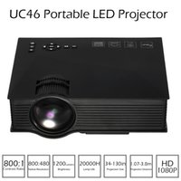 Wholesale UC46 Mini LED Projector Lumens Full HD P Proyector DLNA Miracast WiFi Display USB VGA Input Home Cinema Video Projector V1984