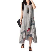 bell paintings - 2016 summer dresses for women Sleeveless Ink Painting Art Big Yards Flax Irregular Hem Maxi Long Casual Dresses Vestidos