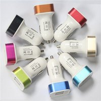 Wholesale Universal aluminium allo Dual USB Car Charger Mix Colors for Cell Phone Ipad Iphone S S S