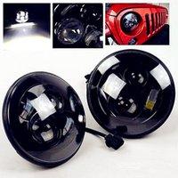 Wholesale One Pair quot LED Headlight For Wrangler JK TJ LJ H4 Hi lo Beam PAR56 Front Driving Headlamp Styling For Land Rover