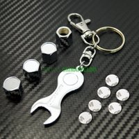 alloy wheel valves - Wholeasle set for Car tire wheel valve steam caps wrench key chain for Mixed order DHL