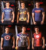 batman mens clothing - 2016 New D Superhero Printing Compressed T Shirt for men Superman Batman T Shirts Sports Quick Dry Fitness mens Clothing Running Tights