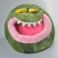 Wholesale Lovely Soft hippo Crocodile Shaped Pet Dog Puppy House Cat House Cat Bed Kennel Bed with Short pile Velour
