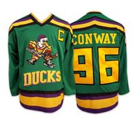 Sewing Stitch - Charlie Conway Mighty Ducks Movie Jersey Green Stitched Sewn Throwback Fulton Reed Ice Hockey Jerseys S XL