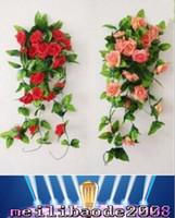 Шелковый Роуз Искусственные цветы зеленый лист лоза Гирлянда для свадебного банкета Главная украшения Красный Розовый Шампанское стены Гирлянды Декоративные MYY