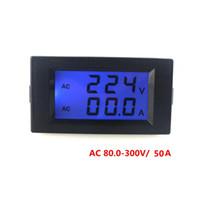 Digital Only Others Others Wholesale-Free Shipping Blue LCD Display Digital voltmeter ammeter AC80.0-300V AC 0-50A Voltage Volt Amp Ampere Current Panel Meter Gauge
