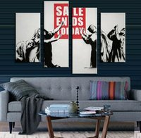 Wholesale 4 Pictures Banksy Art Sale Ends Today cuadros decorativos modern oil canvas painting oil painting printing