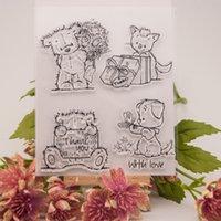 achat en gros de ours album photo-Gros-Lovely Bears Transparent Silicone Stamp / Seal pour album scrapbooking / photo bricolage feuilles de timbres décoratifs clairs