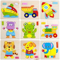 Wholesale Wooden D Puzzle Jigsaw Wooden Toys For Children Cartoon Animal Puzzle Intelligence Kids Educational Toy Toys for Chrismas Gifts