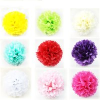 Decorative Paper balloon cheap - 50pcs Colorful Pom Poms Flower Kissing Balls Hanging Balloon for Wedding Party Decoration Supplies Cheap