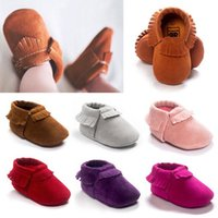 Wholesale 2016 Tassels Moccasins Baby First Walkers Soft Sole Toddlers Shoes Newborn Baby Leather Infant Shoes Girls Kids Suede Footwear for Baby