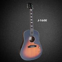 Wholesale OEM handmade John lennon E acoustic electric guitar Spruce solid top