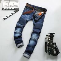 Wholesale famous brand Mens Ripped balmain Biker Jeans Cotton Slim Fit Motorcycle jeans for men Vintage Distressed Denim Jeans Pants