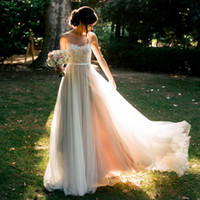 Cheap Real Sheer Beach Country BOHO Bohemian Wedding Dresses A Line Embroidery Runway Gowns Tulle Chiffon Bridal Gown Plus Size 2016