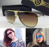 aluminum plate metal - Dita logo sunglasses new dita Decade Two sunglasses women brand designer metal square shape retro men design Usher oversize gold plated