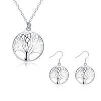 Wholesale Fashion Women Sterling Silver Plated Life Of Tree Charm Necklace Earrings Bridal Jewwlry SetsS