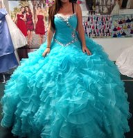 Wholesale 2016 Ruffled Tiered Beaded Pleated Organza Quinceanera Dress Ball Gown Quinceanera Gown with Rhinestones and Sweetheart Neckline