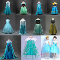 Wholesale DHL Frozen tutu dresses cosplay frozen elsa dress anna dress girls party dresses halloween costumes for kids CM