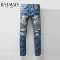 100% cotton denim jeans - Balmain Jeans Men s Skinny Denim Jeans Ripped Destroyed Blue Trouser Jeans Slim Fit Biker Jeans Pant Streetwear BBF0417