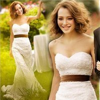 Wholesale Simple Slimming Wedding Dresses - Lace fabric fish tail sweetheart wedding dress slim waist bride wedding formal dress