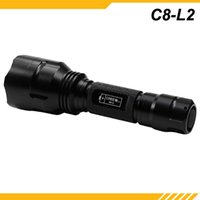 Wholesale Portable Black Torches LED Camping Hike Flashlights Torches Waterproof Mode Ultra Clear Lens Flashlights KDLIGHT C8 L2 S024705