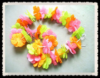 beach processes - 2016 Hawaii Flower Necklace Tropical Beach Style Exquisite Cloth Art Processing Wreath Party Flower Necklace Party Flower Garland