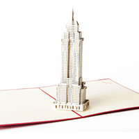 american card greeting - Living Cube D stereoscopic greeting cards USA Empire State Building creative American souvenir card Handmade hot