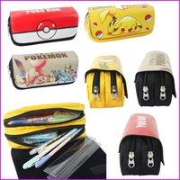 Wholesale Cartoon Anime Stationery Pokémon Pikachu Poke Ball Pen Bag pencil case Pen pocket Poke Ball Zipper Bag Pouch