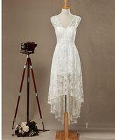 Cheap free shipping Sheath Column Wedding Dress-Ivory Asymmetrical V-neck Lace babyonline