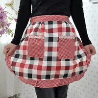 Wholesale 100pcs Women Housewife Short Waist Ruffled Floral Print Apron With Two Pockets Cooking Cotton Apron Bib For Restaurant Home Kitchen ZA0879