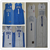 Wholesale 1 Kyrie Irving Blue White College Basketball Jerseys New Style Stitched Jersey Embroidery Logos Wholesalers