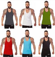 Wholesale itness Men Blank Stringer Cotton Tank Top Singlet Bodybuilding Sport Undershirt Clothes Gym Vest Muscle Singlet