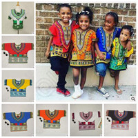 Wholesale 7 Designs African Dashiki Dresses Kids African Clothes Hippie Shirt Caftan VintageTribal Mexican Top Riche Ethnic Clothing CCA4789