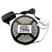 Wholesale 5M Waterproof LED RGB Strip with Key Remote Controller Adapter V Light Lamp SMD LEDs IP65 Fiexble Superlight