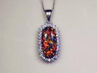 Vente en gros de bijoux de mode Bijoux en acier brun foncé Opal Stone Pendentifs plaqué argent pour les femmes PJ16011706