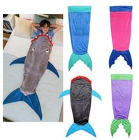 Wholesale 150 CM Mermaid sleeping bag blanket Mermaid tail double sleeping bag Cartoon flannel shark sleeping bag E537